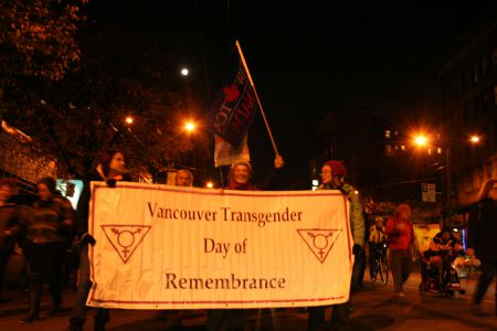 2010 Vancouver Transgender Day of Remembrance - marches down Hastings to SFU Harbour Centre