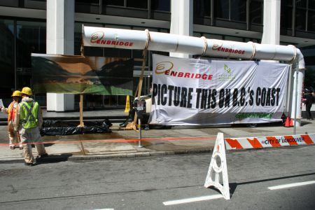 Greenpeace sets up outside 505 Burrard St. (Bentall tower 1)