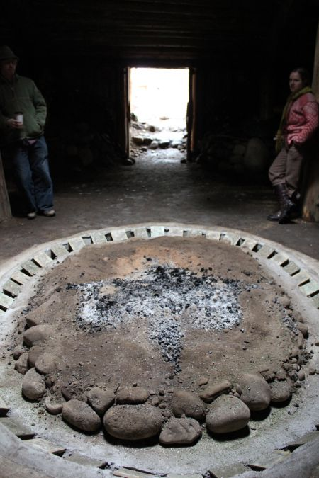 Sacred fire - Sinixt Pitt House. Photo: Tami Starlight (L to R - Austin & Britta)