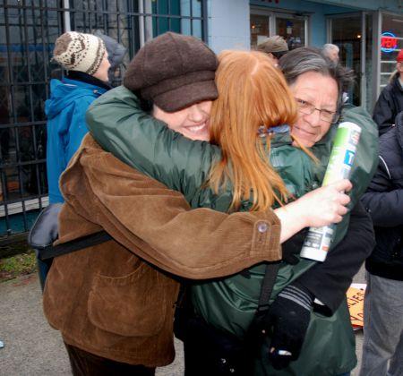 Victory hug