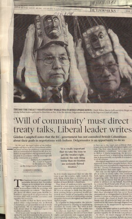 Alvin Weget, hereditary Gitksan chief who had to testify in a Canadian court to the social, economic and political realities of his nation in Delgamuukw.