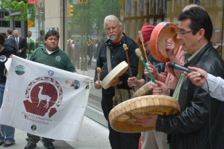Demonstrators from Chile, Tsilhqot'in territory and elsewhere at Taseko's AGM on Friday June 1 // Photo by @BeyondAid