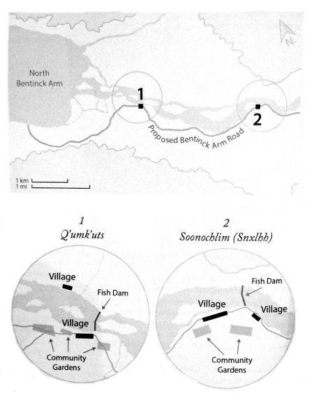 Nuxalk traditional villages, coinciding with the Cavendish Venables 1861 map of the mouth of the Bella Coola River. Diagram from Swanky's book, page 184.