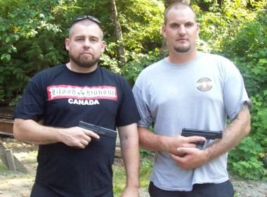 Jan Korinth, on right, was killed in Surrey, BC, on March 17, 2012.  Fellow Blood & Honour member Shawn MacDonald is on left.