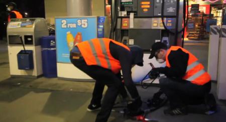 Chevron gas pumps disabled with bike locks.