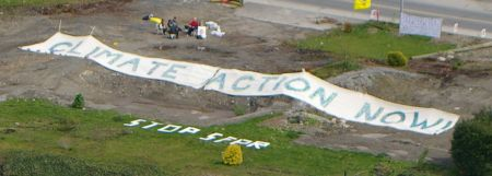 "Massive ""Climate Action Now"" Banner unfurled"