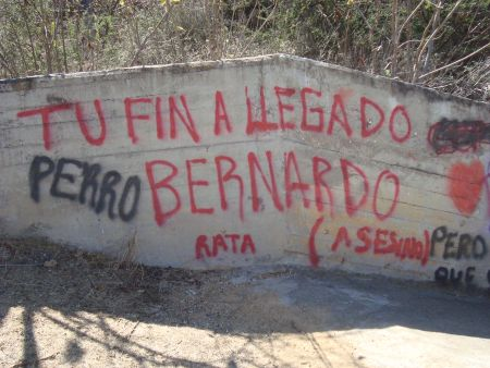 Spray painted threats against Bernardo Vásquez Sánchez in San José Progreso, Oaxaca. February, 2012.