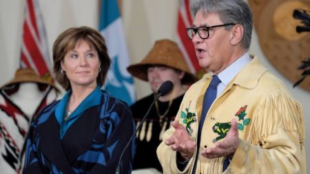 Ed John and Christy Clark, November 21 2016, presenting the Special Advisor's report in Musqueam. Photo by BC Government.