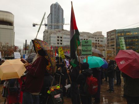 Supporters rally in support of Gaza.