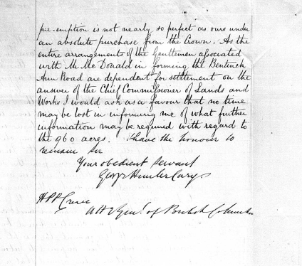 George Cary's letter, signature page.