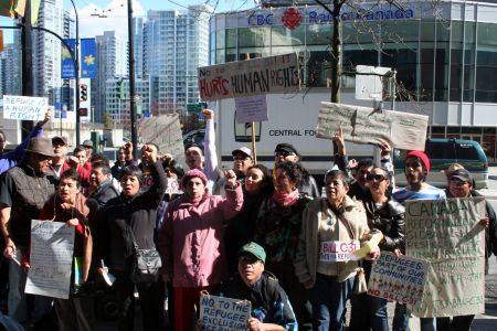 On Refugee Rights Day, dozens came out to protest Bill C-31. Vancouver, April 4, 2012. Photo: Sandra Cuffe