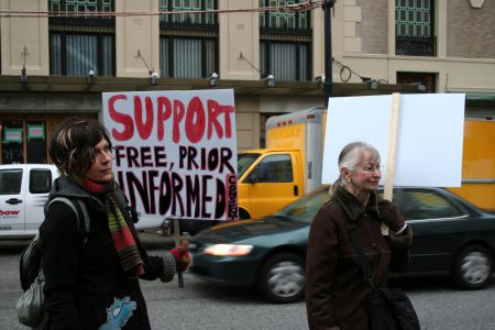 Free, Prior, and Informed Consent (FPIC) support at the Yinka Dene Alliance support rally. Vancouver, March 22, 2011. Photo: Sandra Cuffe