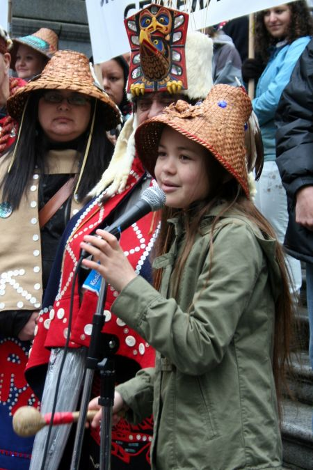 11-year-old Sliammon Nation signer-songwriter Ta'Kaiya Blaney performed 'Shallow Waters' for the rally against oil pipelines and tankers. Vancouver, March 26, 2012. Photo: Sandra Cuffe