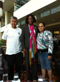 Pau Tuc La Simc, James Louie, at left; IACHR Commissioner Tracey Robinson; and Loni Edmonds.