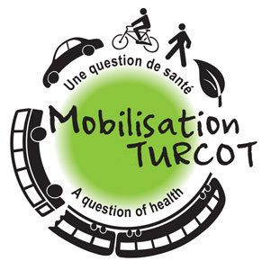 Montreal's Mobilisation Turcot Logo features transit, cycling and walking