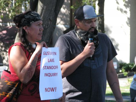 Matthew Danes, Gitga'at, speaking about his months at Lelu Island / Flora Banks, escorting LNG reps out of the territory.
