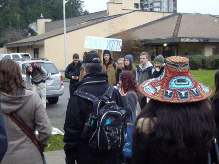 Gathering outside the UBC RCMP station.