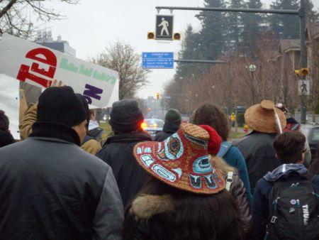 Marching down Westbrook Mall, towards University Boulevard.