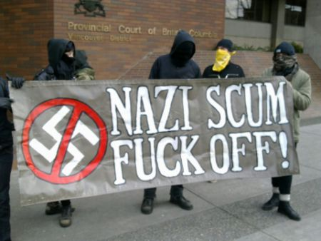 Banner at Jan 27, 2012, court appearance of Neo-Nazi Shawn MacDonald (winner of best banner of the year for 2010 by Georgia Straight)