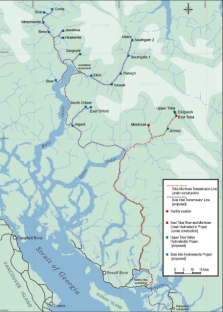 Map of proposed facilities that together make up the Bute Inlet megaproject