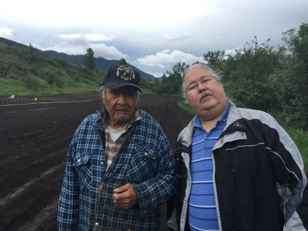 AFN National Chief candidate Russell Diabo, Mohawk, on left of Wolverine, the late Secwepemc traditionalist and sovereigntist, at Wolverine's farm in Neskonlith.