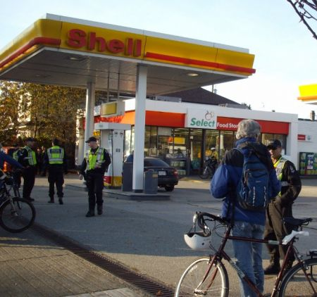 Undoubtedly the police presence helped deter some motorists from pulling into the Shell station.