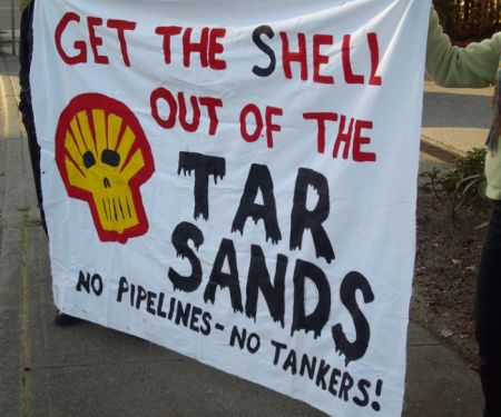 One of the banners used at the Nov 10 rally against Shell oil.