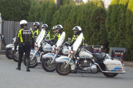 A group of motorcycle cops assigned to the protest.