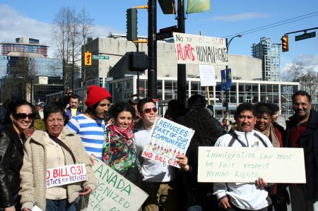 Rally to defeat Bill C-31. Outside the IRB office at West Georgia and Hamilton. Vancouver, April 4, 2012. Photo: Sandra Cuffe
