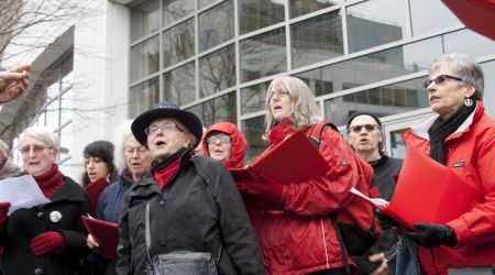 Solidarity Notes Labour Choir serenades climate justice rally in Vancouver. Photo: Erin Empey