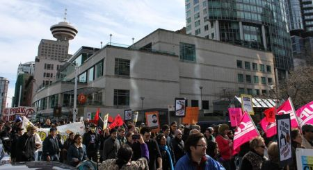 Marching against racism through downtown Vancouver