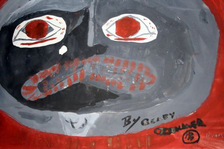 Painting by 12-year-old Geary while attending the Port Alberni Residential School, on display at the TRC regional event in Victoria in April 2012. The art teacher at the time saved much of the students' artwork, and projects are underway to reunite artwork with former students.