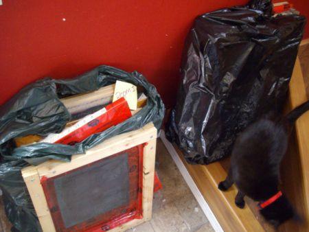 Silkscreen frames stolen during June 3 raid and returned on June 12.