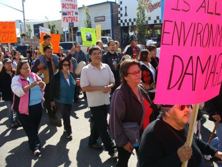 Rally against Enbridge in Prince George organized by the Carrier Sekani Tribal Council. Photo: Toghestiy (Warner Naziel)