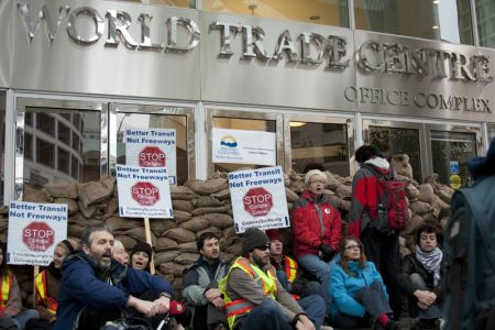 World Trade Centre office building blockaded in Vancouver. Photo: Erin Empey