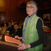 Carnegie Community Action Project's Jean Swanson at the mike