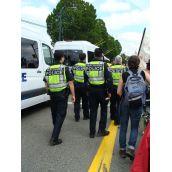 heavy police presence but spirits high