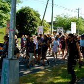 Demonstration at Kinder Morgan in Burnaby, BC:  No Pipelines, No Tankers, No Freeways, No Tar Sands!