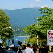 Demonstration at Kinder Morgan in Burnaby, BC:  No Pipelines, No Tankers, No Freeways, No Tar Sands!