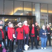 Solidarity Notes choir performed right in front of the police line