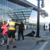Police pushed one of the demo scouts off her bike