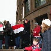 Many children attend the Vancouver rally in solidarity with the people of Egypt and Tunisia. Photo: Sandra Cuffe