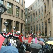 The much-transited central branch of the Vancouver Public Library was the site of the rally for Egypt and Tunisia. Photo: Sandra Cuffe