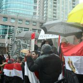 """Free, free, free Egypt,"" chant demonstrators at a Vancouver rally on January 29th. Photo: Sandra Cuffe"