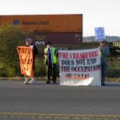 Anti-Israeli Apartheid Protest at Delta Docks