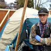 Doug - here since the beginning - made police pay for tent they slashed