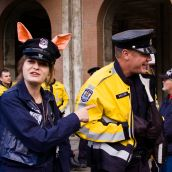 Alissa Westergard-Thorpe of ORN jokes with VPD - Anti-Olympic Torch Ceremonies, Victoria BC 2009
