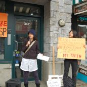 Bringing the struggle for universal public dental care to Premier Christy Clark's office