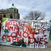 Build Community, Not Pipelines. Victoria, April 15, 2012. Photo: Sandra Cuffe