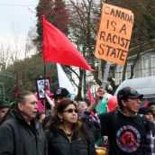 Canada is a Racist State. Community March Against Racism. Vancouver, March 18, 2012.